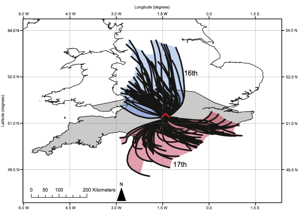 Contributing areas for the Chilbolton AERONET site, calculated as part of the time-for-space substitution used to assess spatial variability